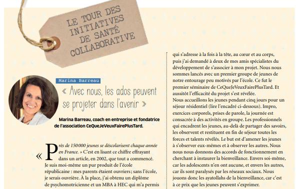 interview de Marina Barreau dans le magazine Sens & Santé du journal le Monde